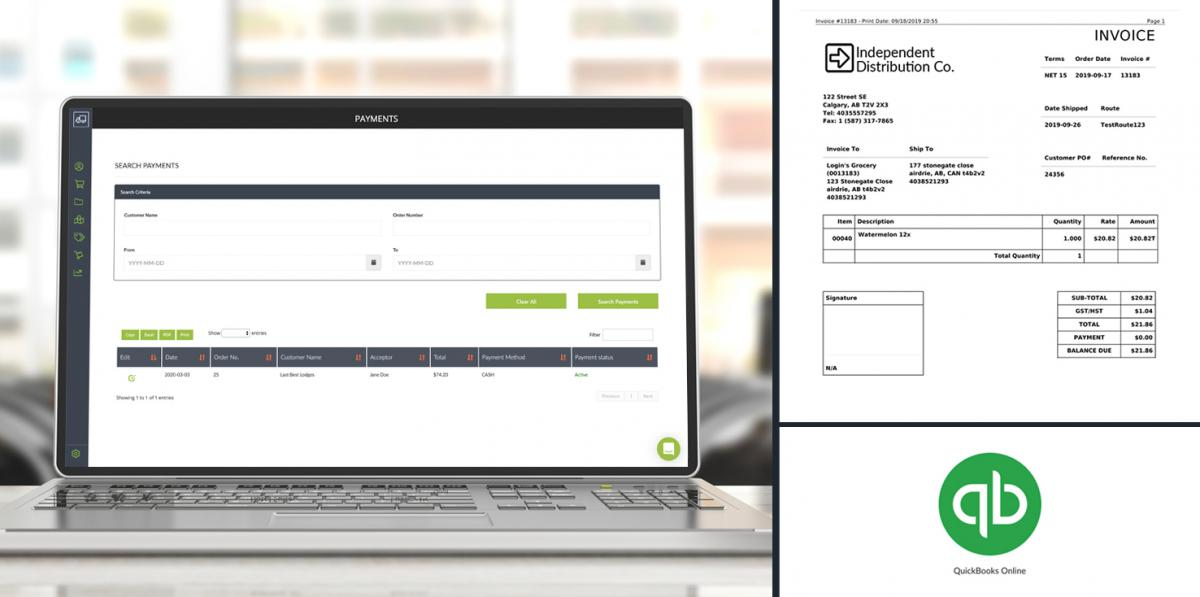 payment screen split image with invoice