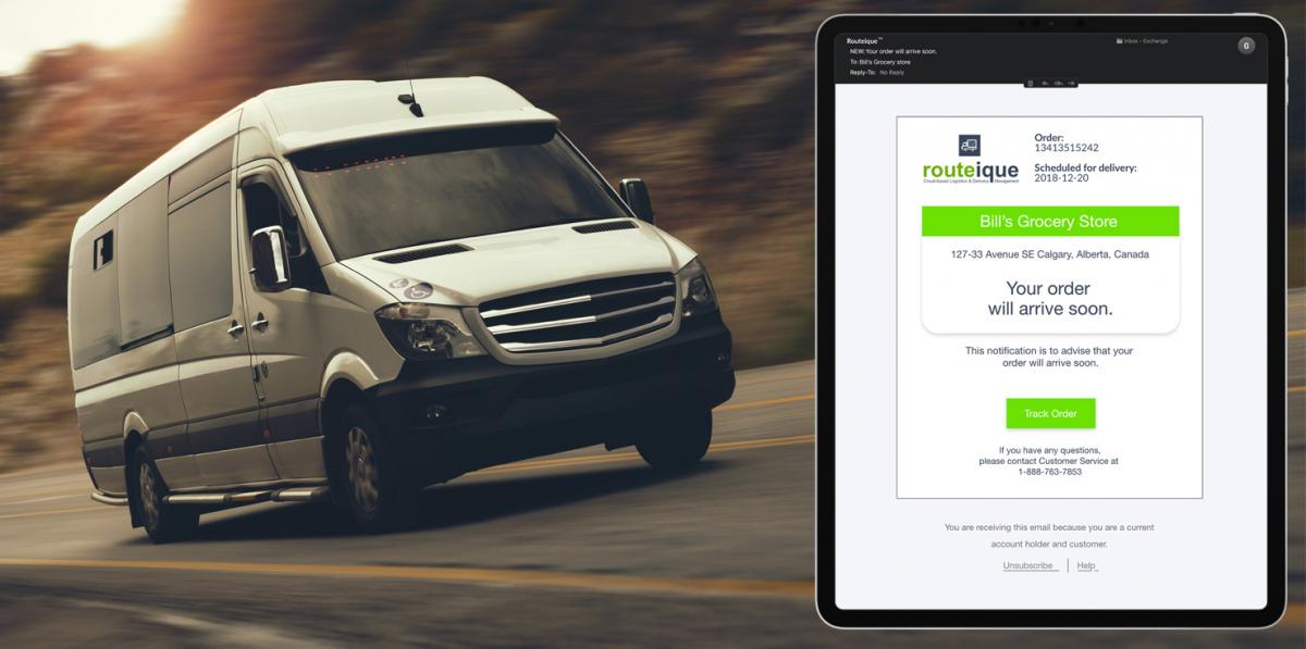 order delivery note on tablet split screen with delivery vehicle