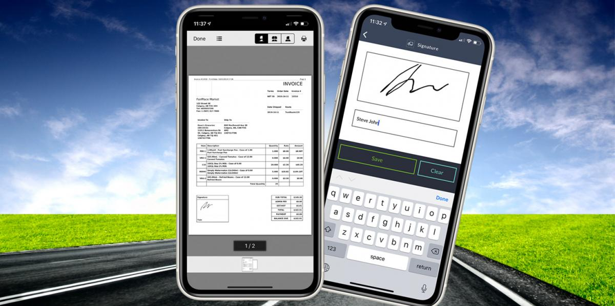 invoice and proof of delivery signature shown on mobile