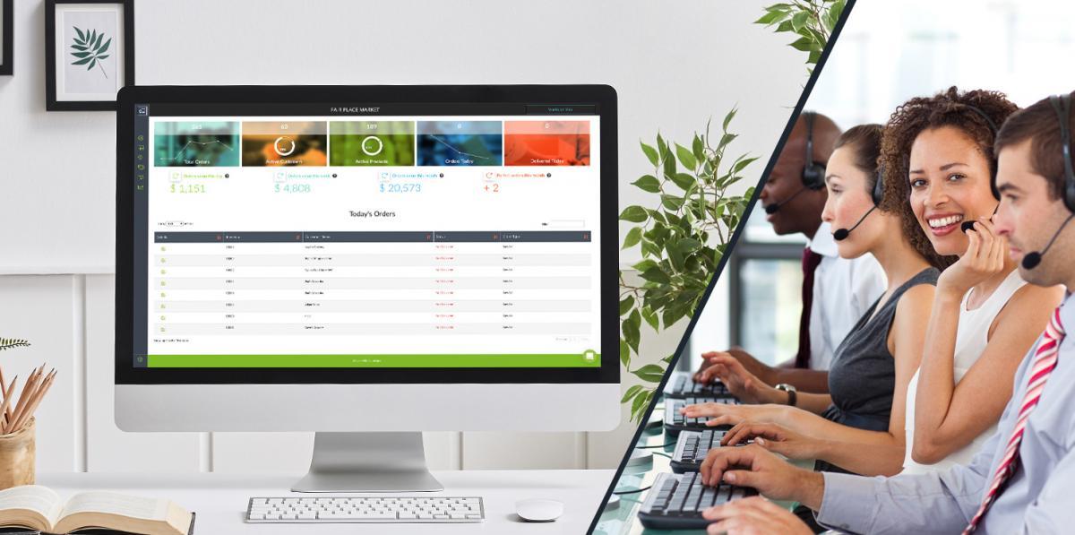 order management on desktop split image with customer service representative