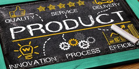 "Chalkboard with ""product"" written in the middle with quality, service, delivery, innovation, process, and efficiency branching off of it."