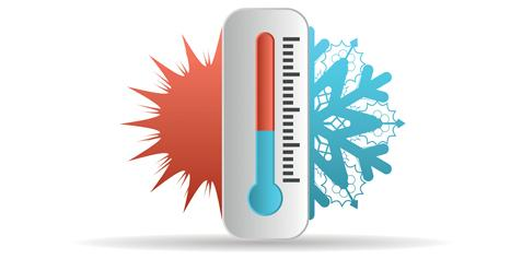 Thermometer cartoon with a sun and a snowflake peeking out behind it.