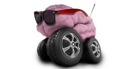 A human brain with sunglasses and RC truck wheels attached to it.
