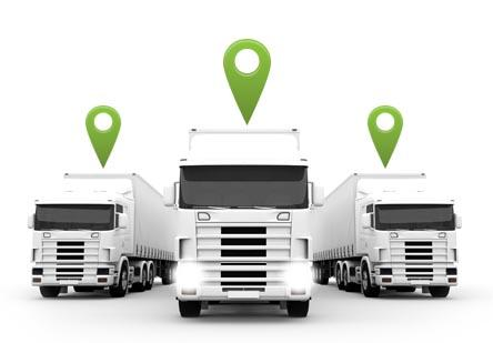 Three semi trucks with map markers above them.
