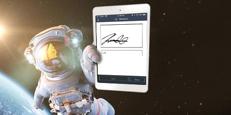 Astronaut in space holding a tablet with a signature window open.