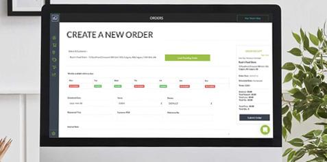 Screenshot of the Routeique Create New Order page on a tablet.