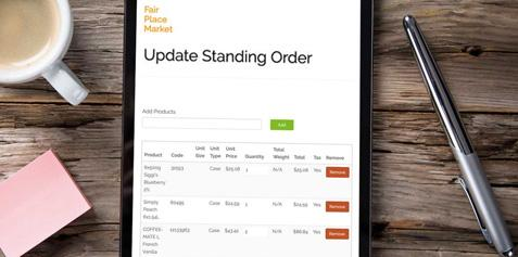 Screenshot of the Routeique Update Standing Order portal.
