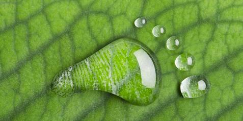 A water drop shaped as a foot print on a leaf background.