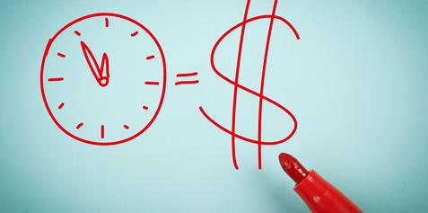 Drawing of a clock equals money sign.