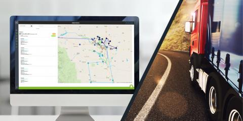 route management platform on computer and a truck delivering goods