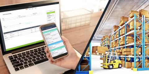 computer and phone showing warehouse management software and a warehouse